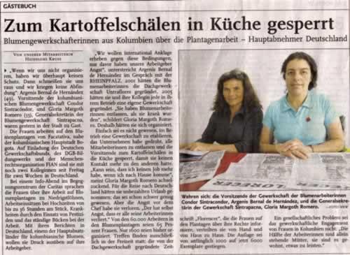 Facsímil del diario Rheinpfalz